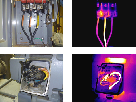 Infrared Inspection Shows Heat Anomaly In Motor Wiring